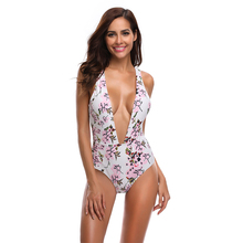 New Sexy Floral Print Swimsuit Women One Piece Suit Deep V Bathing Suit S-XL Girl Open Back Swimwear Backless Padded Monokini open back floral print romper
