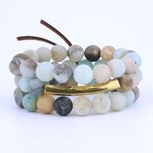ФОТО beaded matte amazonite bar bracelet, natural stone bar bracelet set of 3pcs, beaded bracelet set