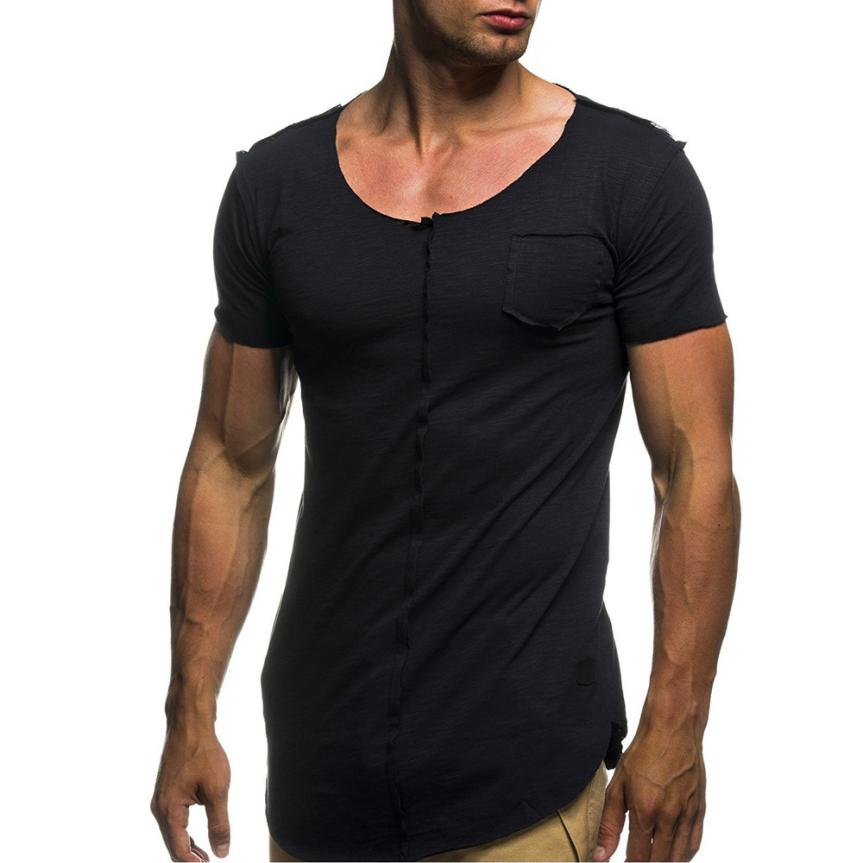 2018 New Fashion new arrival high quality Personality Men's Casual Slim Short-sleeved daily casual T Shirt Top 4 colours F80
