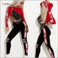 Casual Hoodies Leggings 2 Two Piece Set Women Letter Print Sweatshirt Crop Tops Elastic Waist Cut Out Pencil Pants Cargo Sets