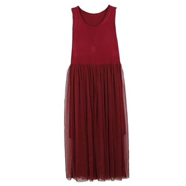 [GUTU] 2017 Spring Fashion New Yards Gauze Lace O-neck Sleeveless Tank Dress Woman Sweet Y08800