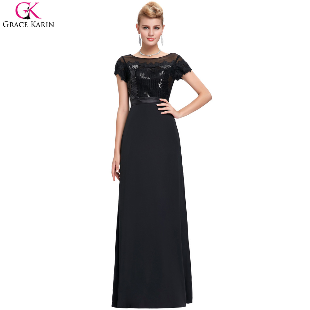 black prom dress long grace karin lace sexy see through back cap sleeve cheap long prom