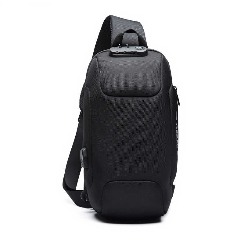 26a45ae543 Multifunction Waterproof Reflective Men Chest Bags Anti Theft Password lock  USB Charging Interface Male Shoulder Messenger