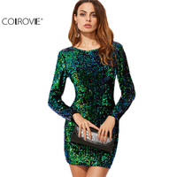 COLROVE Women Dress Elegant Sexy Club Dresses Korean Style Brand Green Iridescent Long Sleeve Sequin Bodycon