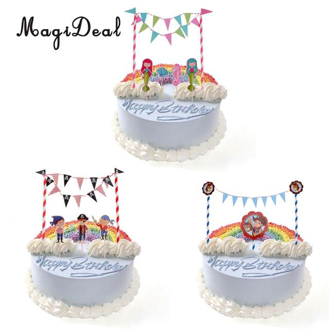 Magideal Happy Birthday Cake Topper Flag Banner Wedding Engagement