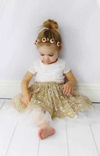 Girls Gold SkirtChristmas Tutugold Petti Skirtgold Sequin Glitter Tutu Skirtbaby First Birthdaysilver Skirtpettiskirt In Skirts From Mother