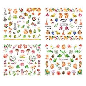 Image 4 - Adesivos de decoração para unhas 12pçs, adesivos bonitos para unhas, decalques de água, diy, raposa, wolf, coruja, desenho animado, deslizante de decoração JIBN1285 1296