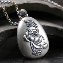 S990 Sterling Silver Prajna Paramita Heart Sutra Buddha Pendant For Women With Lotus Engraved Chinese Words 18.7G