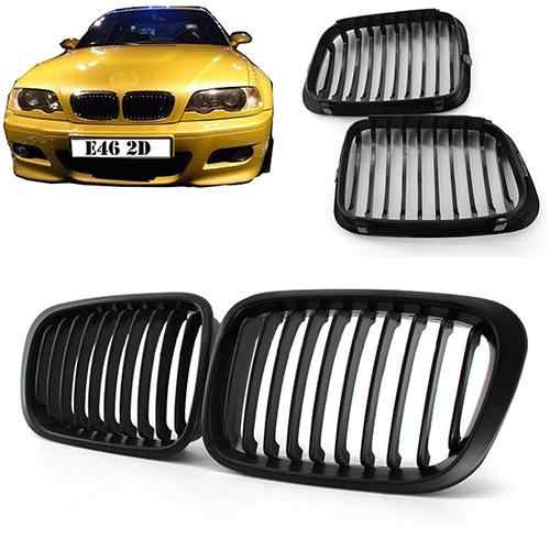 New Replacement Kidney Double Slat Matte/Gloss Black Car Front Grilles for B-MW 1998-2001 E46 318I 320I 325I 330I Racing Grill