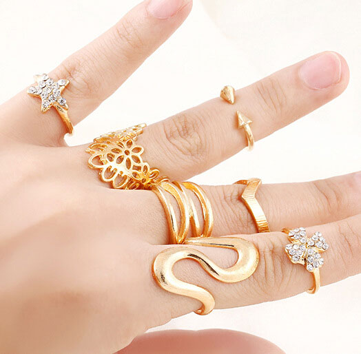 7Pcs set Punk Rock Gold Stack Plain Band Midi Mid Finger Knuckle