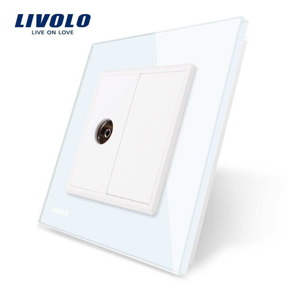 Livolo venta al por mayor/al por menor 4 colores de cristal de vidrio de Panel 1 TV enchufe/salida VL-C791V-11/12/13/15 sin adaptador de enchufe