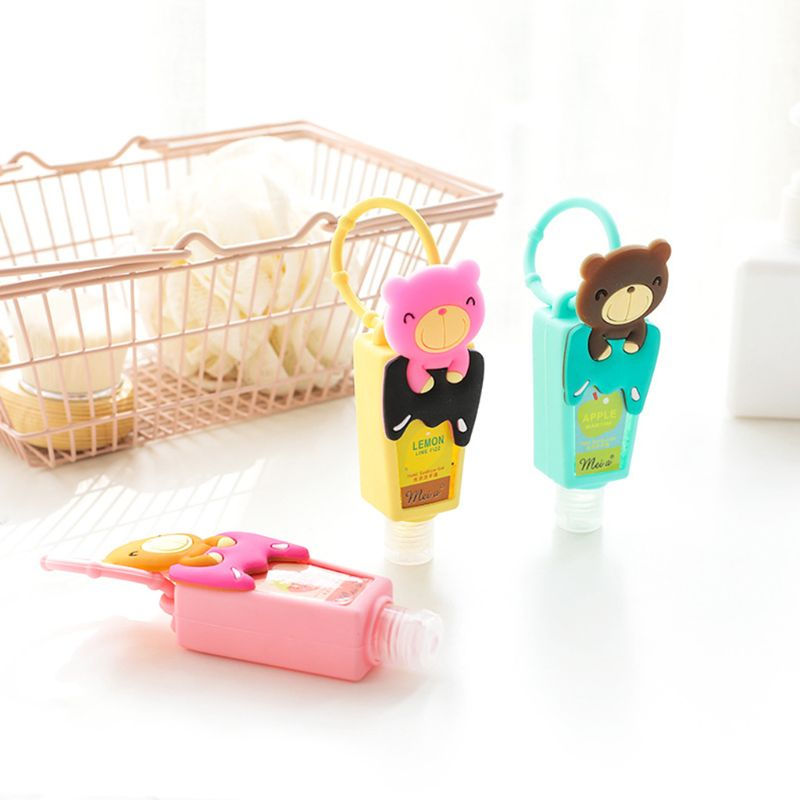 Cute Cartoon Bear Silicone Embossed Mini Hand Sanitizer Disposable No Clean Detachable Cover Travel Portable Hangable Fruit-Scen