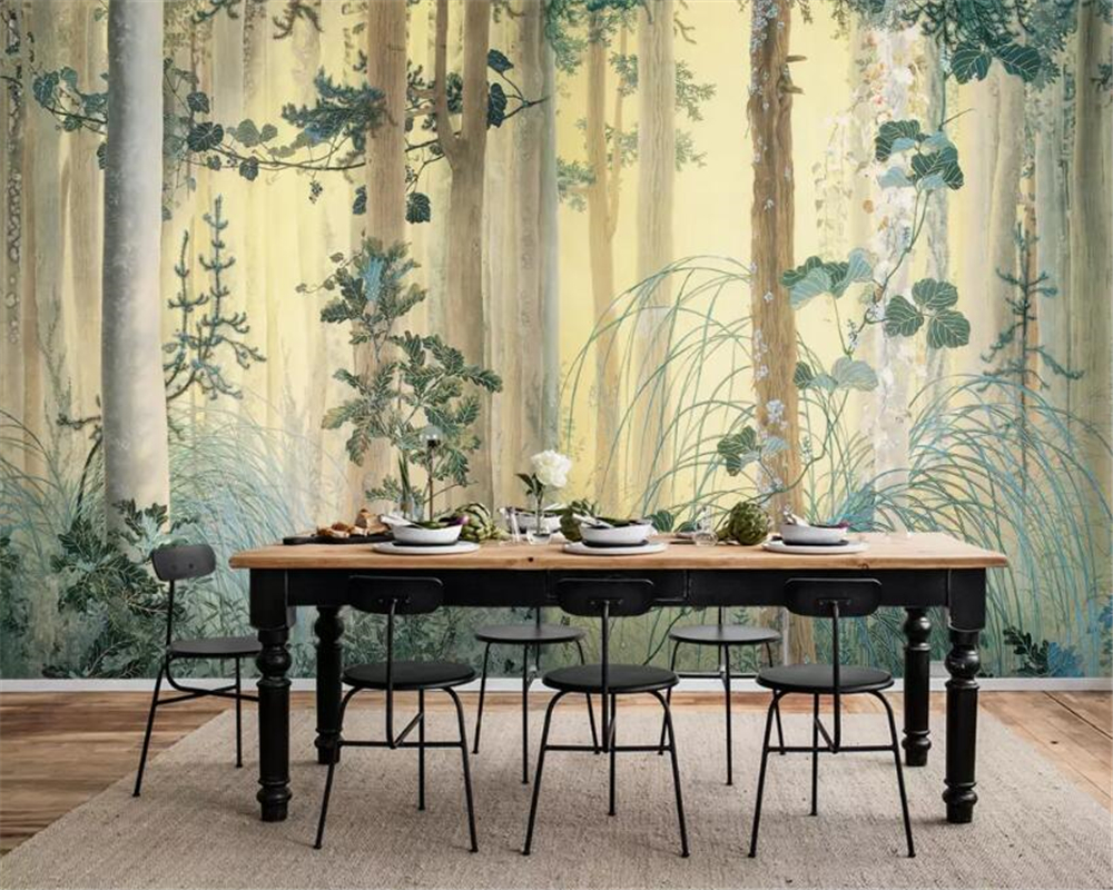 Beibehang Custom Wallpaper Mural Hand-painted Forest Flower Oil Painting Living Room Bedside Table Background Wall 3d Wallpaper