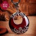 925 Sterling Silver Semi-colar de pedras preciosas Granada vermelho retro Pingente Mulheres jóias acessórios de presente de aniversário namorada