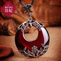 925 Sterling silver Semi-precious stones Garnet necklace retro red Pendant Women jewelry accessories girlfriend birthday gift