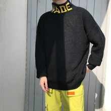 2018 Winter Men's Cashmere Woolen In Warm 3 Color Sweater Brand Fashion Coats Letter Pullovers Loose Casual Turtleneck S-XL