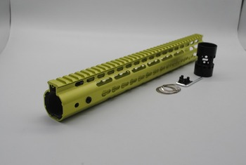 TriRock Glass Green Anodized 15'' inch Length Free Floating Keymod Handguard Rail Mount System fit .223/5.56 Rifle AR-15/M4/M16