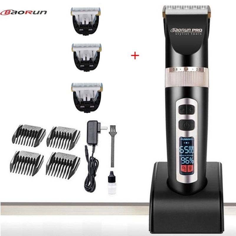 LCD Display Li battery hair clipper professional hair trimmer men electric cutter Rechargeable hair cutting machine