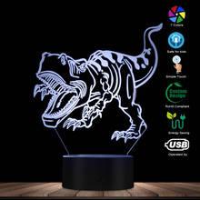 Novelty 3D LED Illusion Night Lamp LED Dinosaur Night Lights 3D LED Table Lamp as Kids Sleeping Lights Decorative Room Lighting