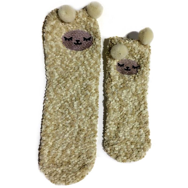 Polar Fleece Women Socks Super Warm Comfortable Christmas Men Floor Socks With Rabbit Sheep Dot Parents And Children Socks