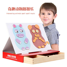 Magnetic Cartoon Puzzles 3D Animal Matching Jigsaw Games Toy Early Learning Wooden Educational Toys for Child Kids Gift цены онлайн