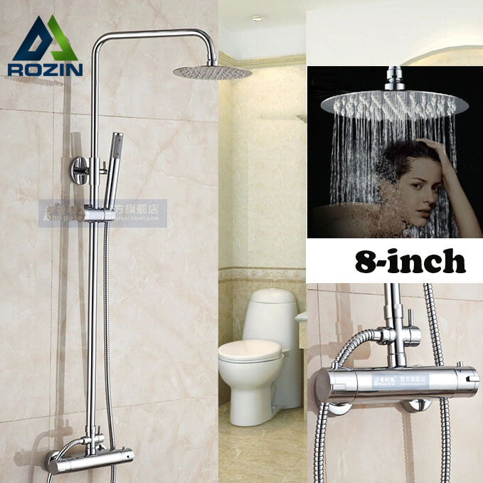 Chrome Rainfall 8 Ultrathin Round Shower Head Ajust Height Thermostatic Shower Mixer Faucet with Handheld Shower japanese anime figures cute 4 nendoroid puella magi madoka magica kaname madoka doll action figure model collection sexy toy