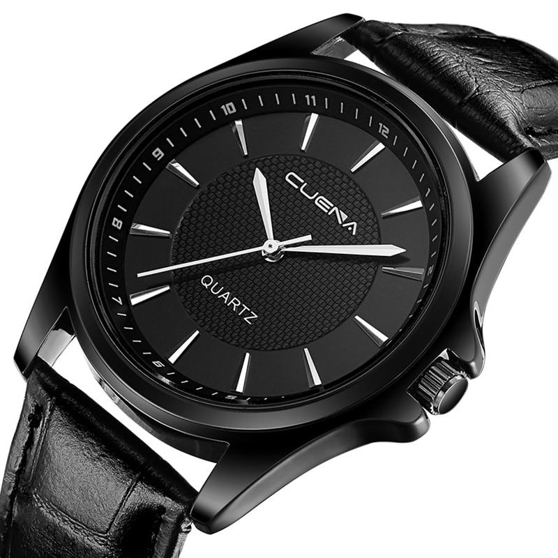 CUENA Men Quartz Watch Genuine Leather Wristwatches Male Fashion Casual Clock 30M Waterproof Relogio Masculino Mens Watches 6605