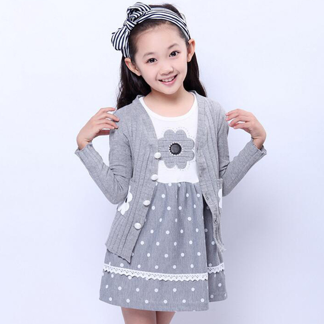 2017 New Fashion Girls Autumn Clothing Sets girl sweater set knitted Dot Long Sleeve Dress Sets Floral Dress + Coat