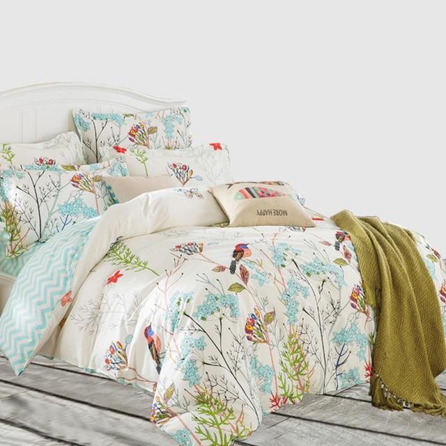 svetanya sheet pillowcase duvet cover set pastoral bird printing bedding sets queen double full twin size