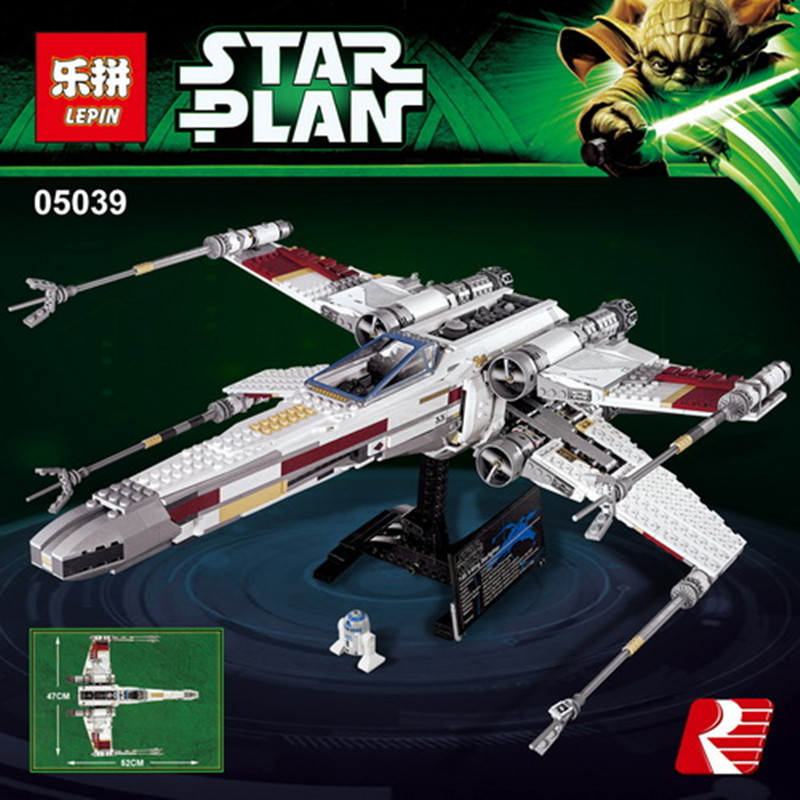 LEPIN 05039 1586Pcs Star Cool Model Wars Red Five X Starfighter wing Building Blocks Bricks toy Compatible 10240 for Boy gifts lepin 05039 star wars red five x wing starfighter figure blocks construction building bricks toys for children compatible legoe