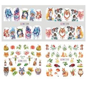 Image 3 - 12pcs Cute Animal Full Wraps Nail Stickers Water Decals DIY Fox Wolf Owl Rabbit Transfer Cartoon Decoration Slider JIBN1285 1296