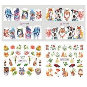 Image 3 - Adesivos de decoração para unhas 12pçs, adesivos bonitos para unhas, decalques de água, diy, raposa, wolf, coruja, desenho animado, deslizante de decoração JIBN1285 1296