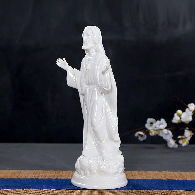 Porcelaine blanche jésus figure statue chrétienne sainte icône en céramique catholique artisanat agneau de dieu jesu Sculpture église Christ cadeau