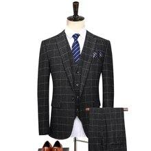 Костюм плед из трех частей костюм (пиджак + брюки + жилет) мужской деловой деловой костюм Большой