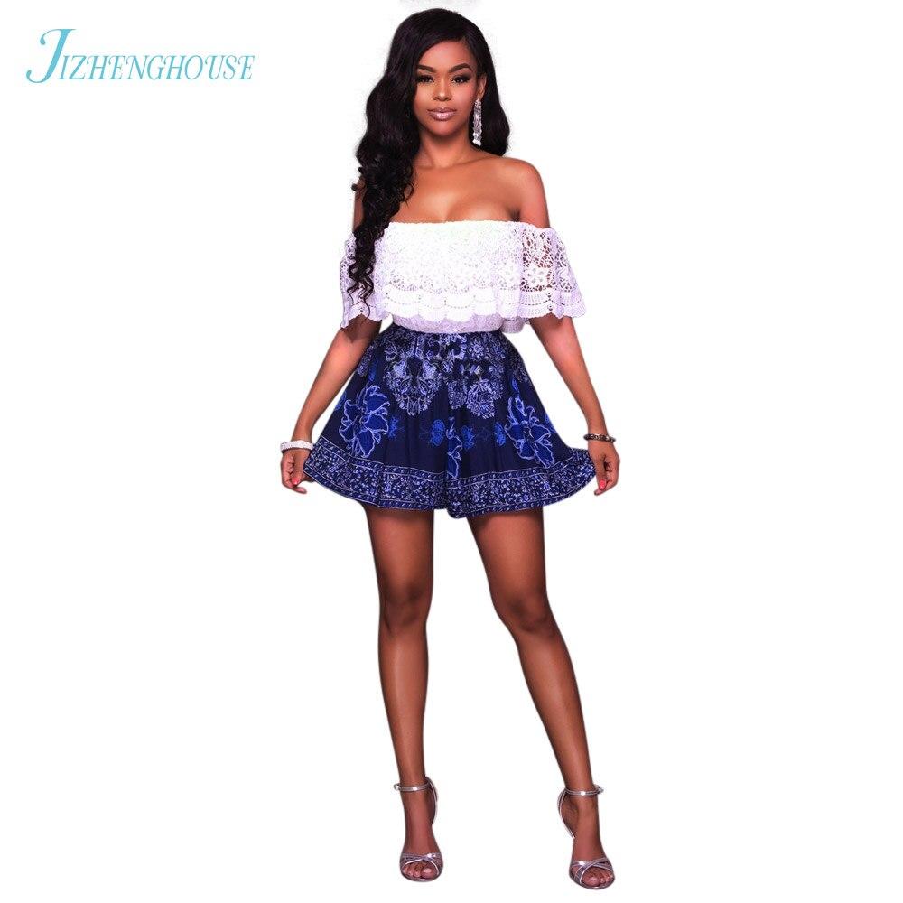 JIZHENGHOUSE Women Jumpsuits Sexy Lace High Waist Wide Leg Sleeveless Slash Neck Romper Elegant Casual Playsuit