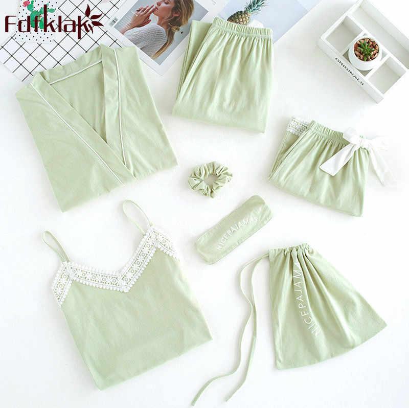 Fdfklak פירות ירוק 7 pieces פיג 'מה סט אביב קיץ פיג' מה נשים קצר שרוול כותנה תלמיד של הלבשת חליפת פיג 'מה mujer