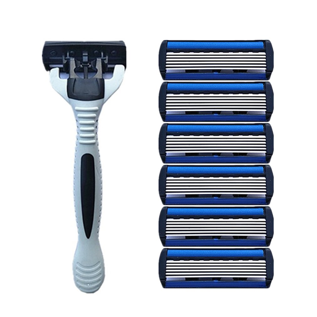 1+4 Combo Set Men Safety Traditional Classic 6 Layers Shaving Hair Blade Razor Manual Stainless Steel Shaving Hair Blade1+4 Combo Set Men Safety Traditional Classic 6 Layers Shaving Hair Blade Razor Manual Stainless Steel Shaving Hair Blade