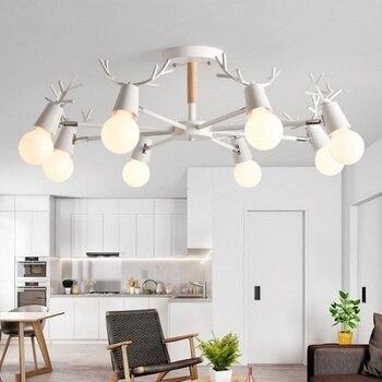 Di legno LED Lampadario Per Soggiorno Bianco Lustre Lampade ...