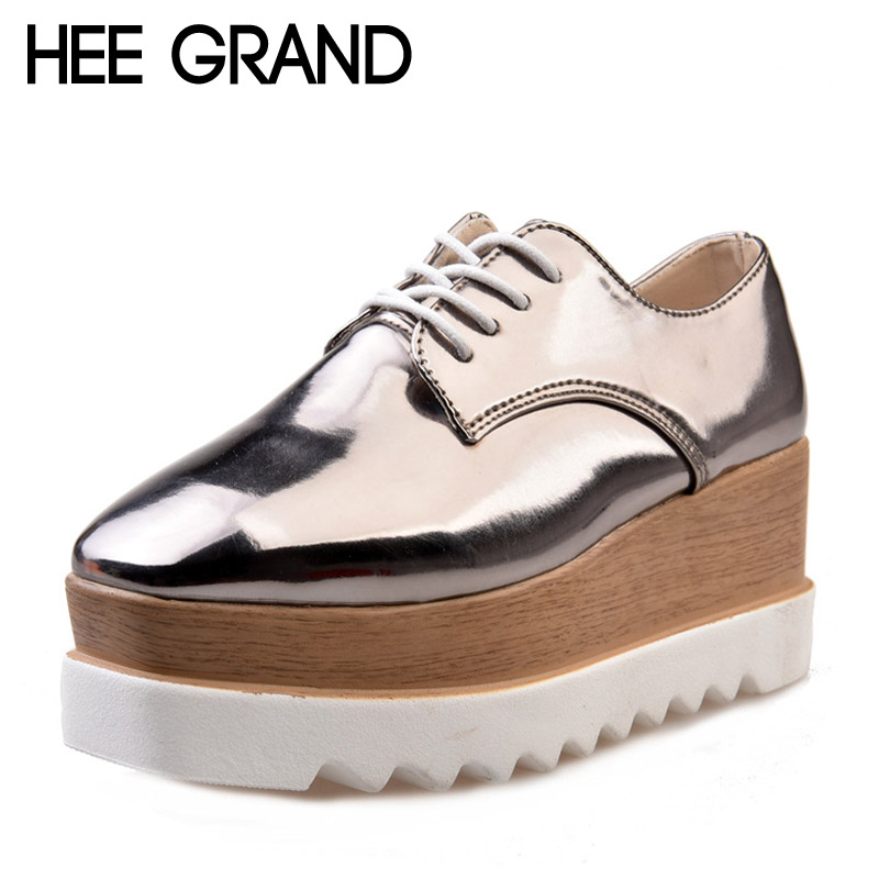 HEE GRAND 2017 Creepers Platform Casual Shoes Woman Lace-Up Oxfords Spring Flats Fashion Solid Women Shoes XWD4890 hee grand lace up gladiator sandals 2017 summer platform flats shoes woman casual creepers fashion beach women shoes xwz4085