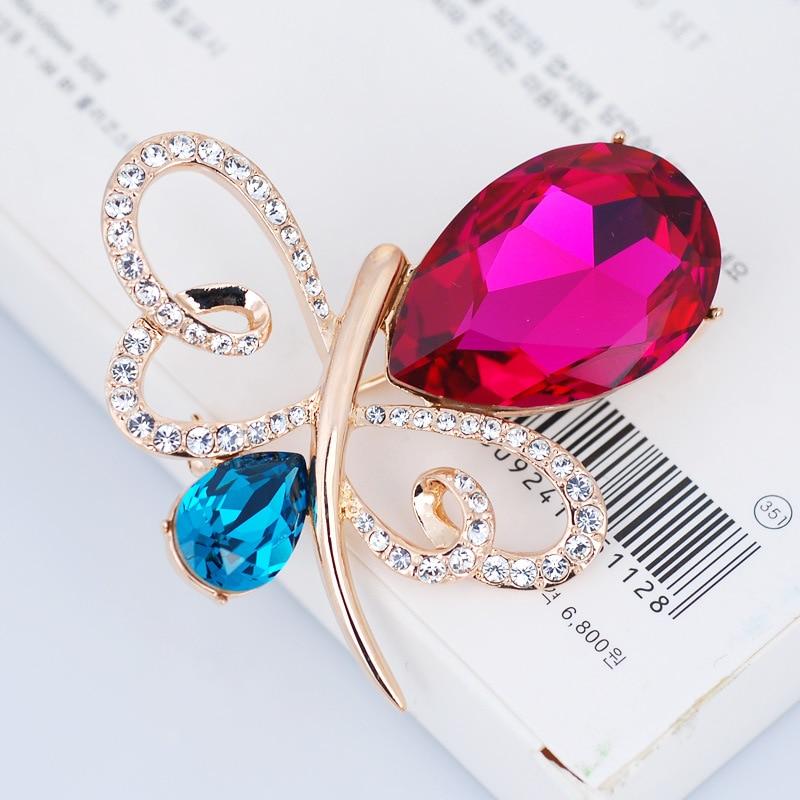 Austria crystal butterfly brooch cul-de-lampe high quality brand jewellery gift цена