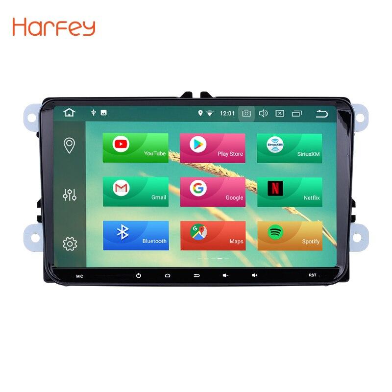 Harfey Android 8,0 9 gps автомагнитолы 2 din мультимедийный плеер для VW Golf Jetta Tiguan T5 B7 Passat MK5 сиденье Leon Skoda Octavia