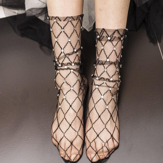 Модные ромбы прозрачные носки женские летние блестящие лодыжки носки из сетчатого материала выдалбливают тонкие носки Harajuku жемчуг горный хрусталь Sox