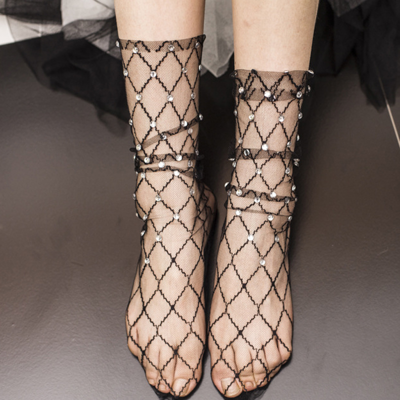 Fashion Rhombus Transparent   Socks   Women Summer Shiny Ankle   Socks   Fishnet Hollow Out Thin   Socks   Harajuku Pearl Rhinestone Sox