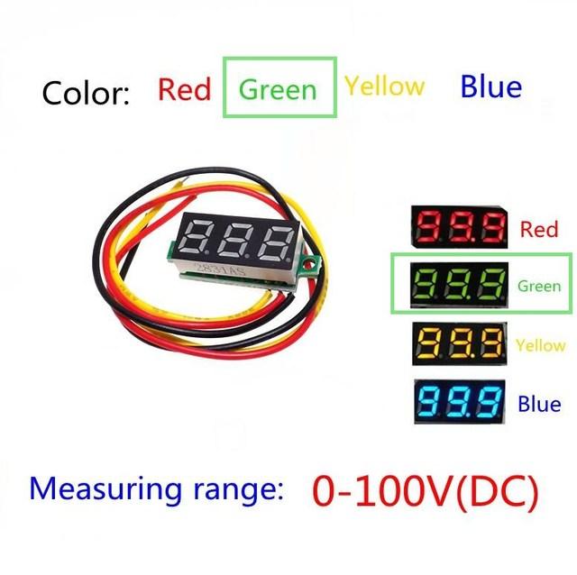 Green Three line precision dc digital voltmeter head LED digital voltmeter DC4.5V-30V 0.28 Inch Mini Digital Voltmeter 0-100V
