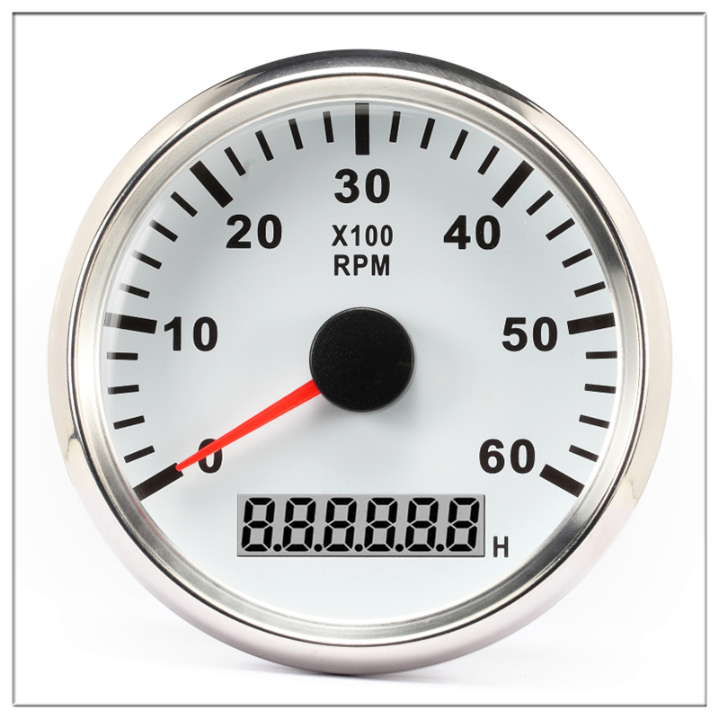 Tachometer <font><b>boat</b></font> 0-6000 RPM 85 mm Round Hour meter Engine Gauge Back light <font><b>clock</b></font> Meter With Truck Outboard car accessories image