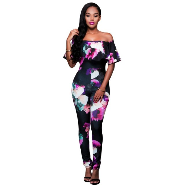 Black/pink elegant african print fabric floral jumpsuit long off shoulder 2017 hot bodycon sexy club jumpsuits for women A64191