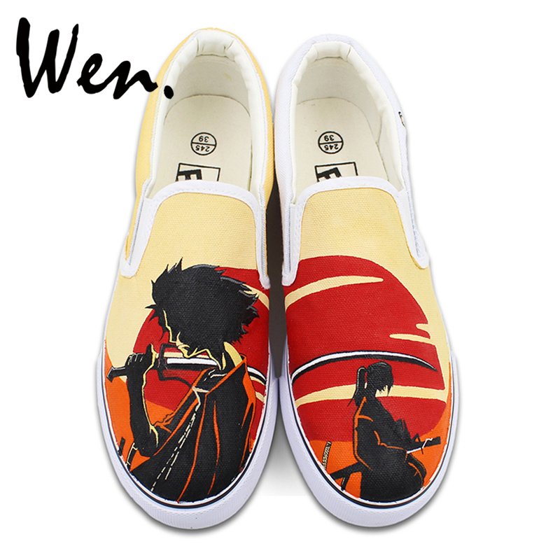 Wen Unisex Hand Painted Shoes Custom Design Anime Samurai Champloo Slip Ons Outdoor Walking Skateboarding Sneakers wen design hand painted shoes custom anime samurai champloo slip on canvas sneakers for men women s special gifts