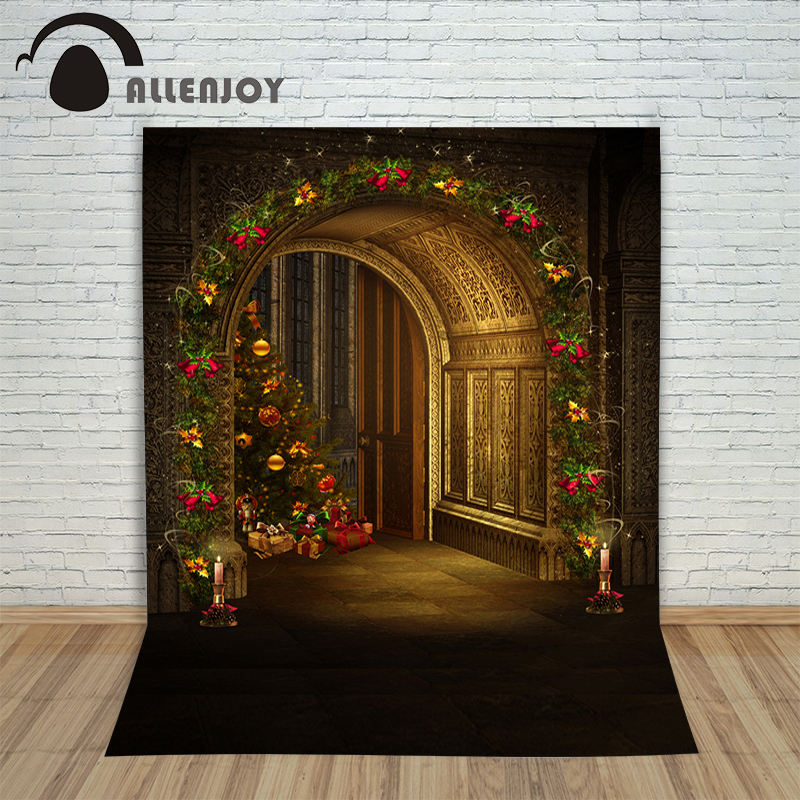 Christmas background vinyl Door cle tree gift new born photo studio professional photocall background pictures