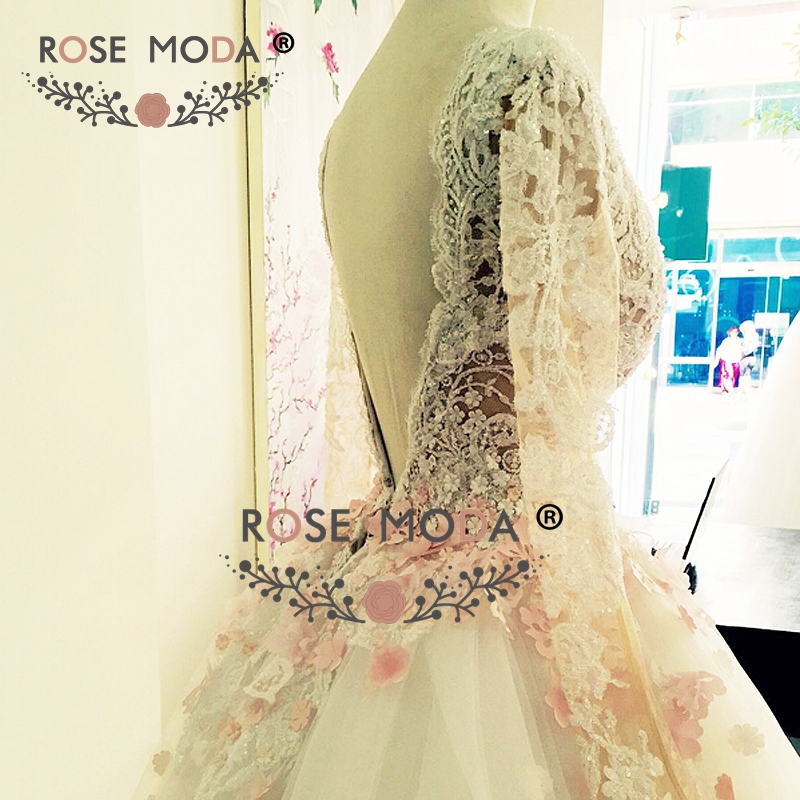 Rose Moda Long Sleeves Wedding Ball Gown With Delicate Pink Flowers Low V Back See Through Lace Top Puffy Organza In Dresses From Weddings