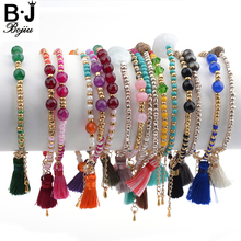 Bojiu Trendy Bracelets For Women Seed Beads Natural Stone Crystal Tassel Bohemia Colorful New Jewelry Bracelet Sets BC170